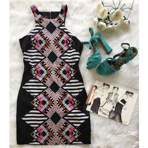 Black Geometric and Strip Print Dress